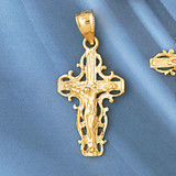 Jesus Christ on Cross Charm Bracelet or Pendant Necklace in Yellow, White or Rose Gold DZ-8395 by Dazzlers