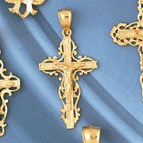 Jesus Christ on Cross Charm Bracelet or Pendant Necklace in Yellow, White or Rose Gold DZ-8396 by Dazzlers