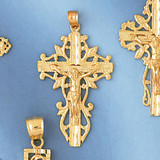 Jesus Christ on Cross Charm Bracelet or Pendant Necklace in Yellow, White or Rose Gold DZ-8398 by Dazzlers