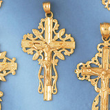 Jesus Christ on Cross Charm Bracelet or Pendant Necklace in Yellow, White or Rose Gold DZ-8399 by Dazzlers