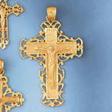 Jesus Christ on Cross Charm Bracelet or Pendant Necklace in Yellow, White or Rose Gold DZ-8401 by Dazzlers