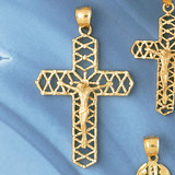 Jesus Christ on Cross Charm Bracelet or Pendant Necklace in Yellow, White or Rose Gold DZ-8402 by Dazzlers