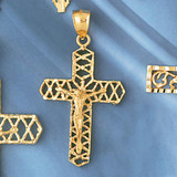 Jesus Christ on Cross Charm Bracelet or Pendant Necklace in Yellow, White or Rose Gold DZ-8403 by Dazzlers