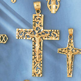 Jesus Christ on Cross Charm Bracelet or Pendant Necklace in Yellow, White or Rose Gold DZ-8404 by Dazzlers