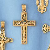 Jesus Christ on Cross Charm Bracelet or Pendant Necklace in Yellow, White or Rose Gold DZ-8406 by Dazzlers
