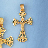 Jesus Christ on Cross Charm Bracelet or Pendant Necklace in Yellow, White or Rose Gold DZ-8408 by Dazzlers