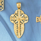 Jesus Christ on Cross Charm Bracelet or Pendant Necklace in Yellow, White or Rose Gold DZ-8409 by Dazzlers