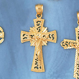 Jesus Christ on Cross Charm Bracelet or Pendant Necklace in Yellow, White or Rose Gold DZ-8410 by Dazzlers