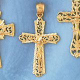 Jesus Christ on Cross Charm Bracelet or Pendant Necklace in Yellow, White or Rose Gold DZ-8411 by Dazzlers