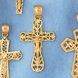 Jesus Christ on Cross Charm Bracelet or Pendant Necklace in Yellow, White or Rose Gold DZ-8412 by Dazzlers