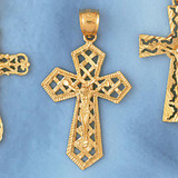 Jesus Christ on Cross Charm Bracelet or Pendant Necklace in Yellow, White or Rose Gold DZ-8413 by Dazzlers