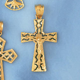 Jesus Christ on Cross Charm Bracelet or Pendant Necklace in Yellow, White or Rose Gold DZ-8414 by Dazzlers