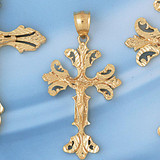 Jesus Christ on Cross Charm Bracelet or Pendant Necklace in Yellow, White or Rose Gold DZ-8423 by Dazzlers