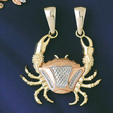 Cancer Crab Zodiac Charm Bracelet or Pendant Necklace in Yellow, White or Rose Gold DZ-9240 by Dazzlers