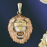 Leo Lion Zodiac Charm Bracelet or Pendant Necklace in Yellow, White or Rose Gold DZ-9241 by Dazzlers