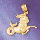 Capricorn Goat Zodiac Pendant Necklace Charm Bracelet in Gold or Silver 9449