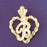 Initial B Heart Charm Bracelet or Pendant Necklace in Yellow, White or Rose Gold DZ-9579b by Dazzlers