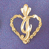 Initial I Heart Charm Bracelet or Pendant Necklace in Yellow, White or Rose Gold DZ-9579i by Dazzlers