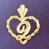 Initial Q Heart Charm Bracelet or Pendant Necklace in Yellow, White or Rose Gold DZ-9579q by Dazzlers