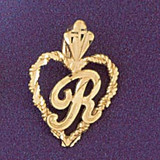 Initial R Heart Charm Bracelet or Pendant Necklace in Yellow, White or Rose Gold DZ-9579r by Dazzlers