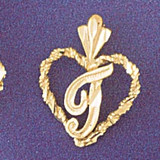 Initial T Heart Charm Bracelet or Pendant Necklace in Yellow, White or Rose Gold DZ-9579t by Dazzlers