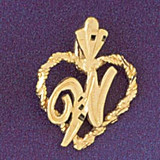 Initial W Heart Charm Bracelet or Pendant Necklace in Yellow, White or Rose Gold DZ-9579w by Dazzlers