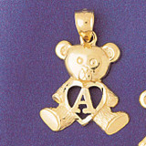 Initial A Teddy Bear Charm Bracelet or Pendant Necklace in Yellow, White or Rose Gold DZ-9580a by Dazzlers