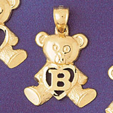 Initial B Teddy Bear Charm Bracelet or Pendant Necklace in Yellow, White or Rose Gold DZ-9580b by Dazzlers