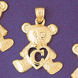 Initial C Teddy Bear Charm Bracelet or Pendant Necklace in Yellow, White or Rose Gold DZ-9580c by Dazzlers