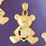 Initial E Teddy Bear Charm Bracelet or Pendant Necklace in Yellow, White or Rose Gold DZ-9580e by Dazzlers