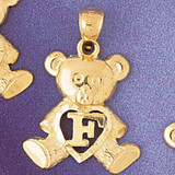 Initial F Teddy Bear Charm Bracelet or Pendant Necklace in Yellow, White or Rose Gold DZ-9580f by Dazzlers
