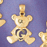 Initial G Teddy Bear Charm Bracelet or Pendant Necklace in Yellow, White or Rose Gold DZ-9580g by Dazzlers