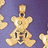 Initial H Teddy Bear Charm Bracelet or Pendant Necklace in Yellow, White or Rose Gold DZ-9580h by Dazzlers