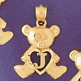Initial J Teddy Bear Charm Bracelet or Pendant Necklace in Yellow, White or Rose Gold DZ-9580j by Dazzlers