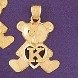 Initial K Teddy Bear Charm Bracelet or Pendant Necklace in Yellow, White or Rose Gold DZ-9580k by Dazzlers