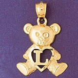 Initial L Teddy Bear Charm Bracelet or Pendant Necklace in Yellow, White or Rose Gold DZ-9580l by Dazzlers