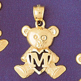 Initial M Teddy Bear Charm Bracelet or Pendant Necklace in Yellow, White or Rose Gold DZ-9580m by Dazzlers