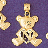 Initial N Teddy Bear Charm Bracelet or Pendant Necklace in Yellow, White or Rose Gold DZ-9580n by Dazzlers
