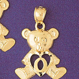 Initial O Teddy Bear Charm Bracelet or Pendant Necklace in Yellow, White or Rose Gold DZ-9580o by Dazzlers