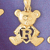 Initial R Teddy Bear Charm Bracelet or Pendant Necklace in Yellow, White or Rose Gold DZ-9580r by Dazzlers