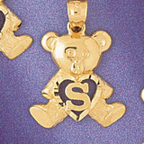 Initial S Teddy Bear Charm Bracelet or Pendant Necklace in Yellow, White or Rose Gold DZ-9580s by Dazzlers