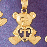 Initial T Teddy Bear Charm Bracelet or Pendant Necklace in Yellow, White or Rose Gold DZ-9580t by Dazzlers