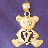 Initial V Teddy Bear Charm Bracelet or Pendant Necklace in Yellow, White or Rose Gold DZ-9580v by Dazzlers