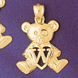 Initial W Teddy Bear Charm Bracelet or Pendant Necklace in Yellow, White or Rose Gold DZ-9580w by Dazzlers