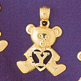 Initial Y Teddy Bear Charm Bracelet or Pendant Necklace in Yellow, White or Rose Gold DZ-9580y by Dazzlers