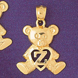 Initial Z Teddy Bear Charm Bracelet or Pendant Necklace in Yellow, White or Rose Gold DZ-9580z by Dazzlers