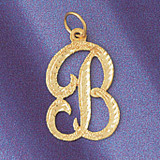 Initial B Classic Charm Bracelet or Pendant Necklace in Yellow, White or Rose Gold DZ-9559b by Dazzlers