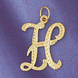 Initial H Classic Charm Bracelet or Pendant Necklace in Yellow, White or Rose Gold DZ-9559h by Dazzlers