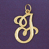 Initial J Classic Charm Bracelet or Pendant Necklace in Yellow, White or Rose Gold DZ-9559j by Dazzlers