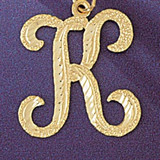 Initial K Classic Charm Bracelet or Pendant Necklace in Yellow, White or Rose Gold DZ-9559k by Dazzlers
